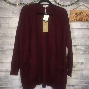 Madewell Ryder Burgundy Long Cardigan Sweater SZ S